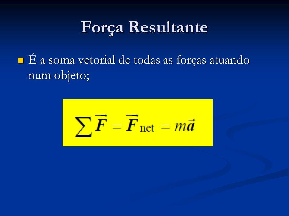 Força Resultante É a soma vetorial de todas as forças atuando num objeto;