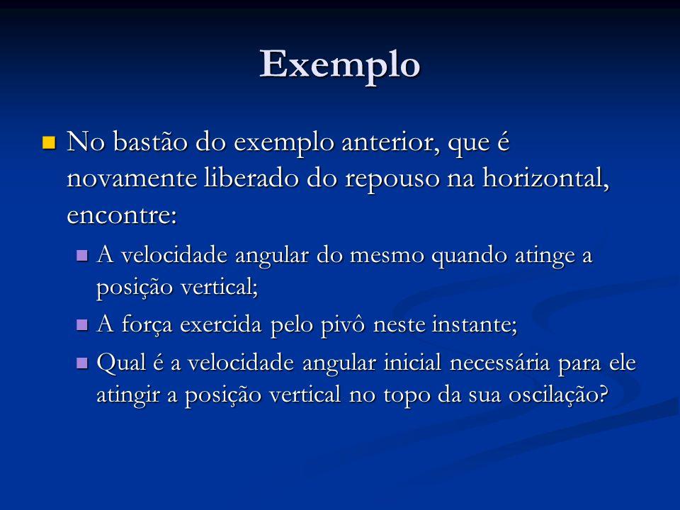 Exemplo No bastão do exemplo anterior, que é novamente liberado do repouso na horizontal, encontre: