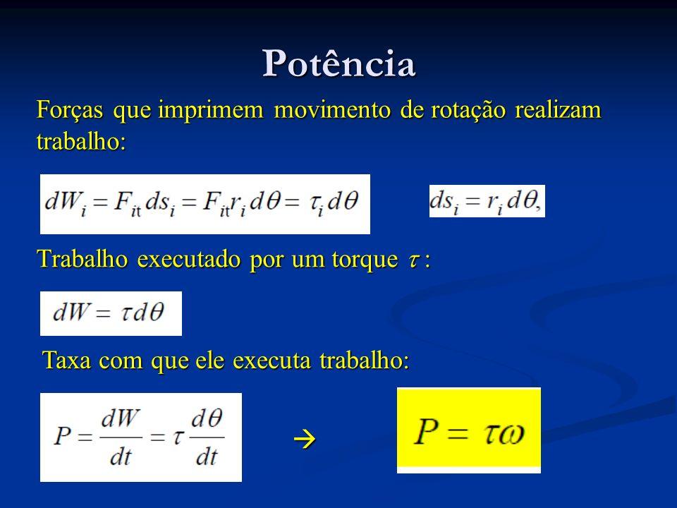 Potência Forças que imprimem movimento de rotação realizam trabalho: