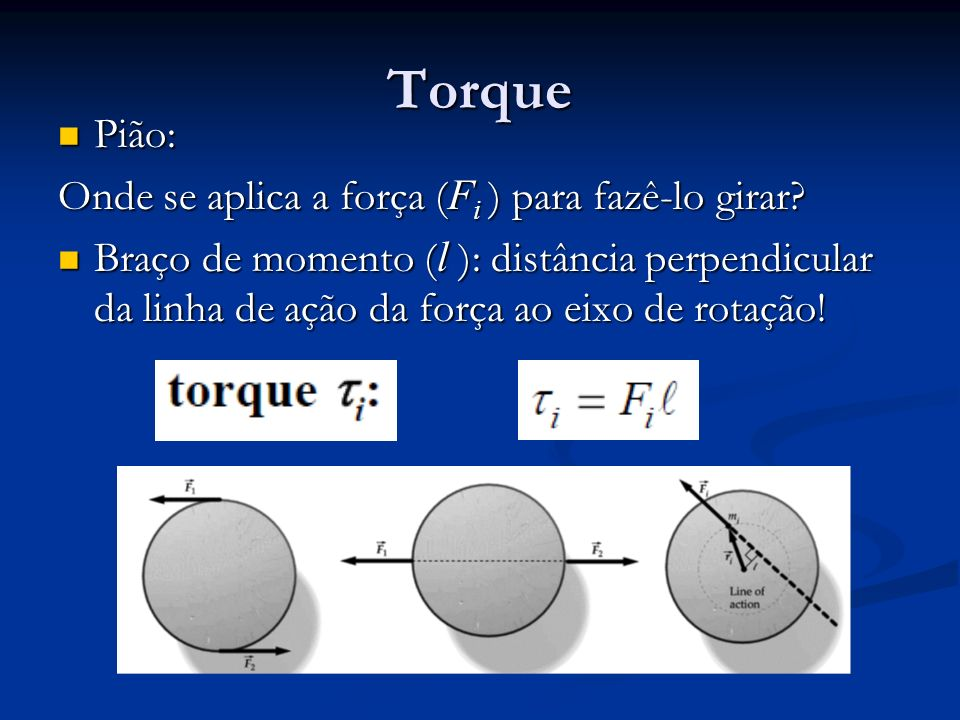 Torque Pião: Onde se aplica a força (Fi ) para fazê-lo girar