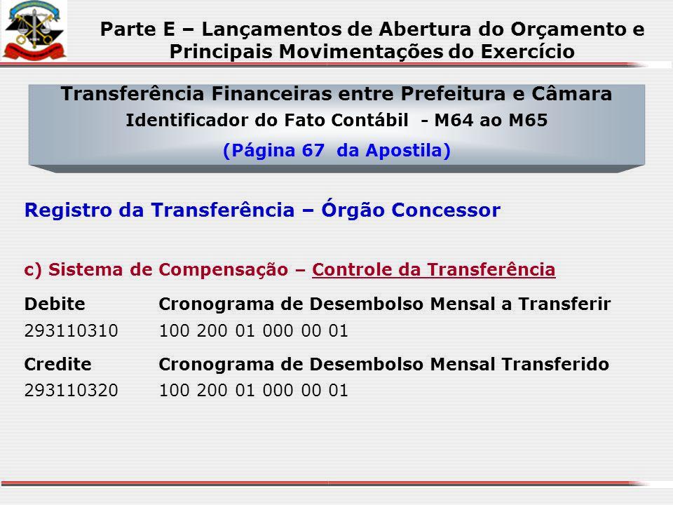 Transferência Financeiras entre Prefeitura e Câmara