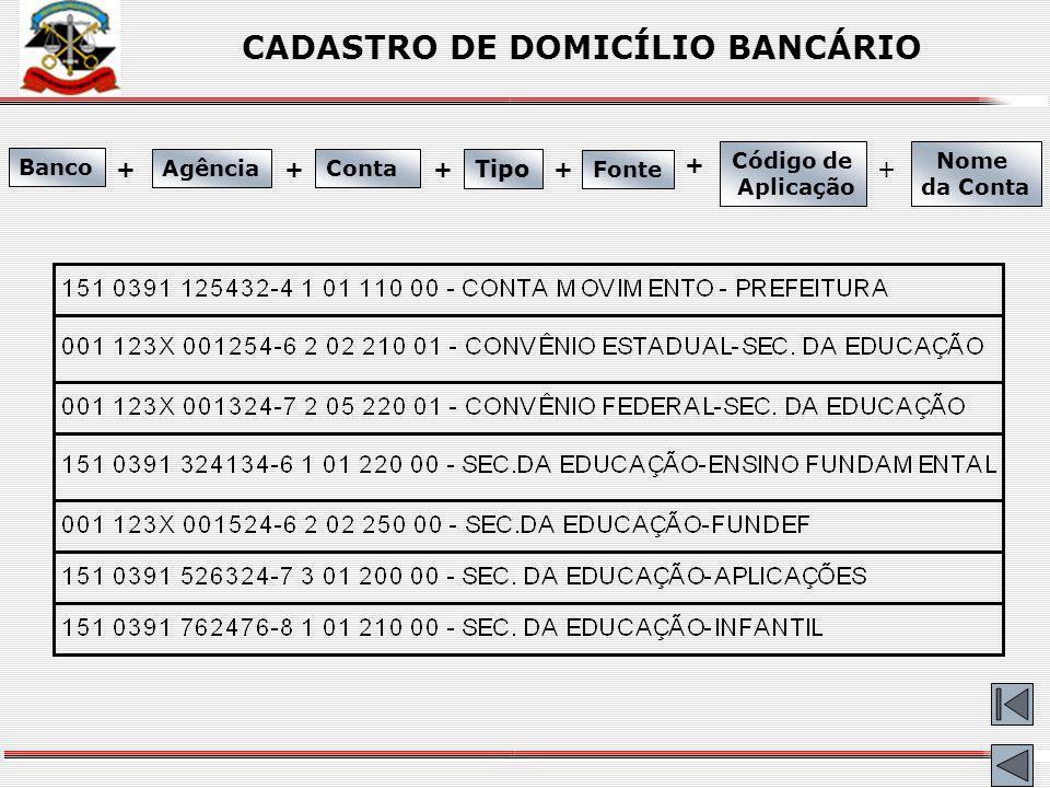 CADASTRO DE DOMICÍLIO BANCÁRIO