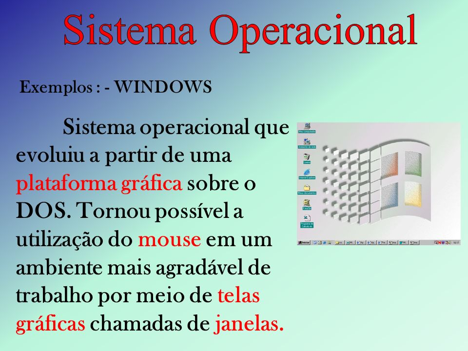 Sistema Operacional Exemplos : - WINDOWS.