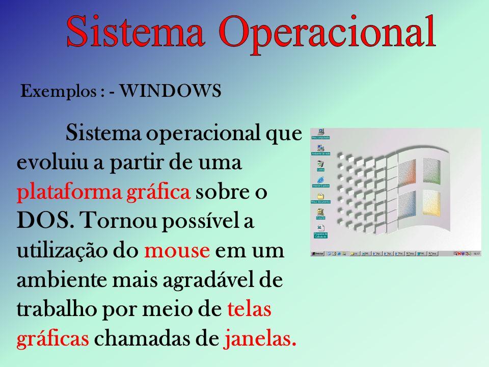 Sistema OperacionalExemplos : - WINDOWS.