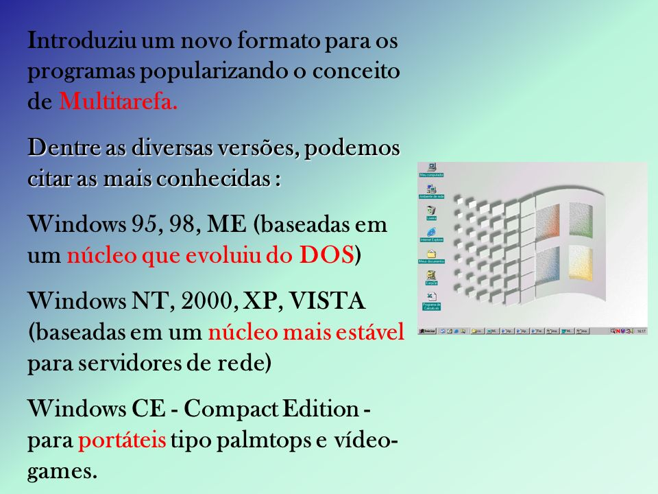 Introduziu um novo formato para os programas popularizando o conceito de Multitarefa.