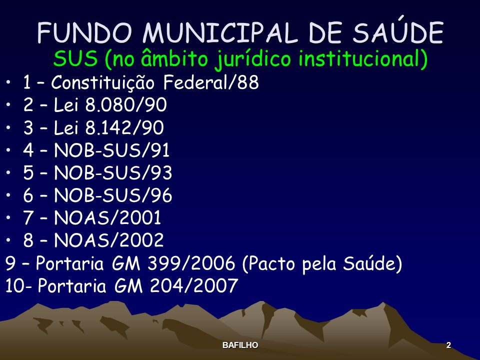 FUNDO MUNICIPAL DE SAÚDE