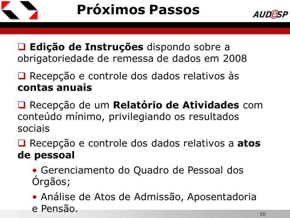 Próximos PassosEdição de Instruções dispondo sobre a obrigatoriedade de remessa de dados em 2008.