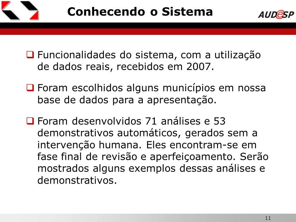 Conhecendo o SistemaX. Funcionalidades do sistema, com a utilização de dados reais, recebidos em 2007.