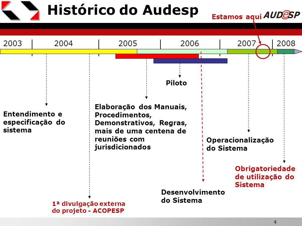Histórico do Audesp 2003 2004 2005 2006 2007 2008 Estamos aqui Piloto