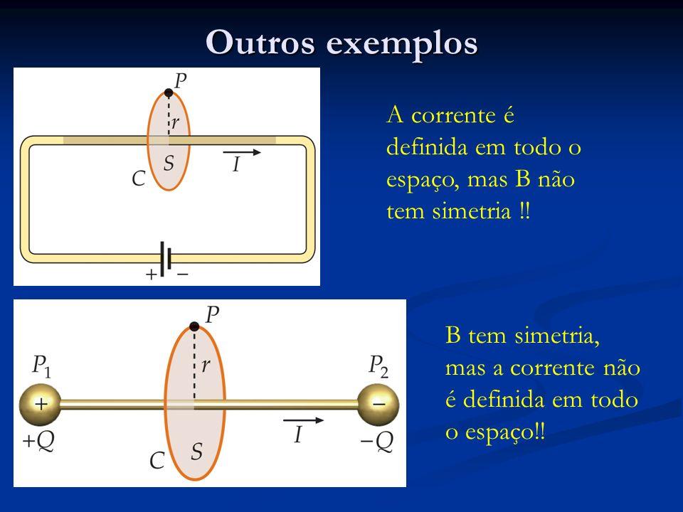 Outros exemplos A corrente é definida em todo o espaço, mas B não tem simetria !.