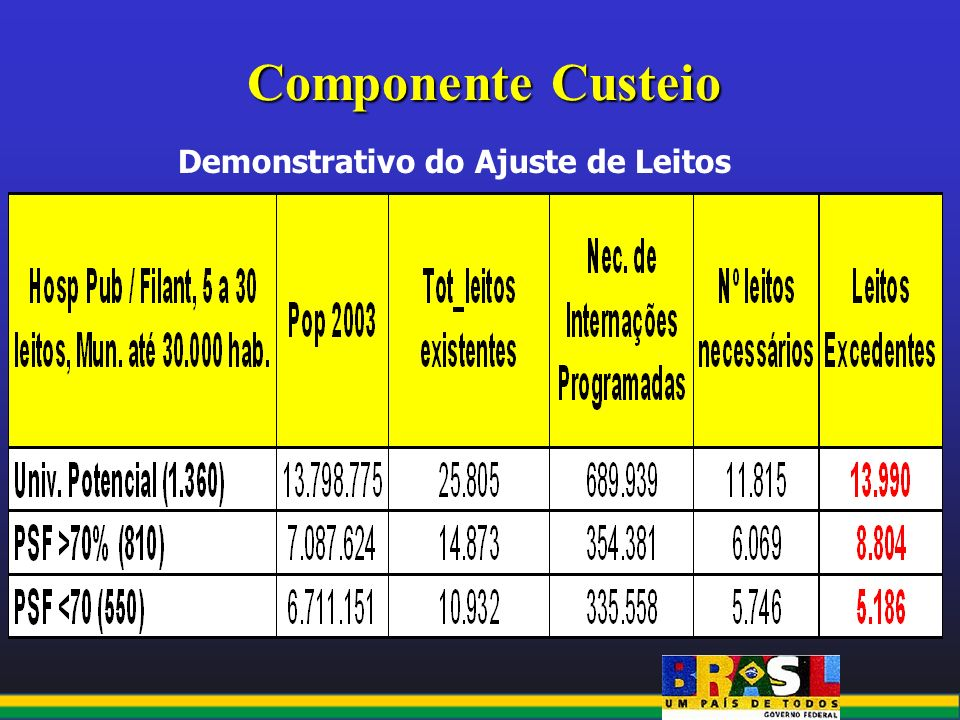 Componente Custeio Demonstrativo do Ajuste de Leitos