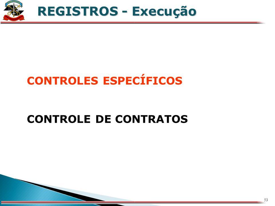 REGISTROS - Execução CONTROLES ESPECÍFICOS CONTROLE DE CONTRATOS X
