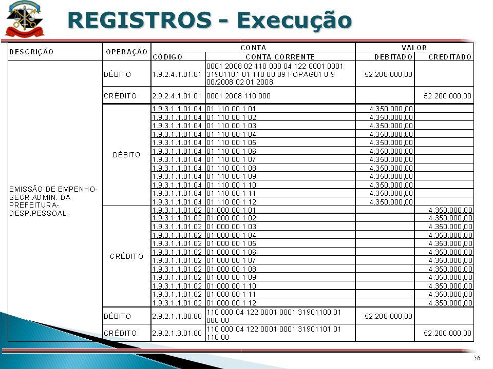 X REGISTROS - Execução.