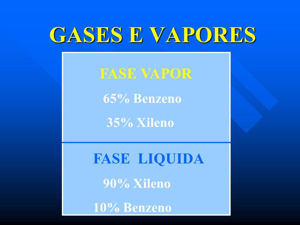 GASES E VAPORES FASE LIQUIDA FASE VAPOR 35% Xileno 90% Xileno