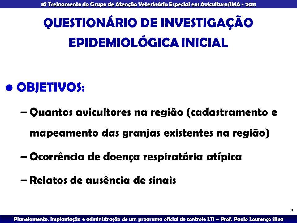 QUESTIONÁRIO DE INVESTIGAÇÃO EPIDEMIOLÓGICA INICIAL