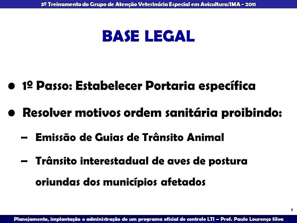 BASE LEGAL 1º Passo: Estabelecer Portaria específica