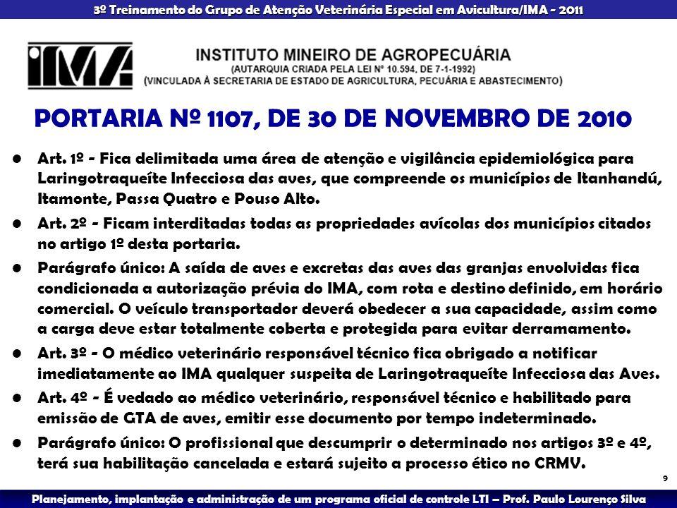 PORTARIA Nº 1107, DE 30 DE NOVEMBRO DE 2010