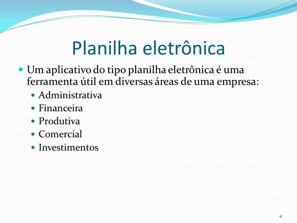 Planilha eletrônica Um aplicativo do tipo planilha eletrônica é uma ferramenta útil em diversas áreas de uma empresa: