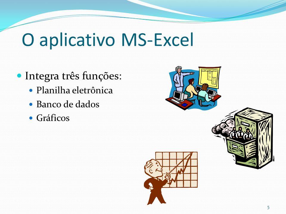 O aplicativo MS-Excel Integra três funções: Planilha eletrônica