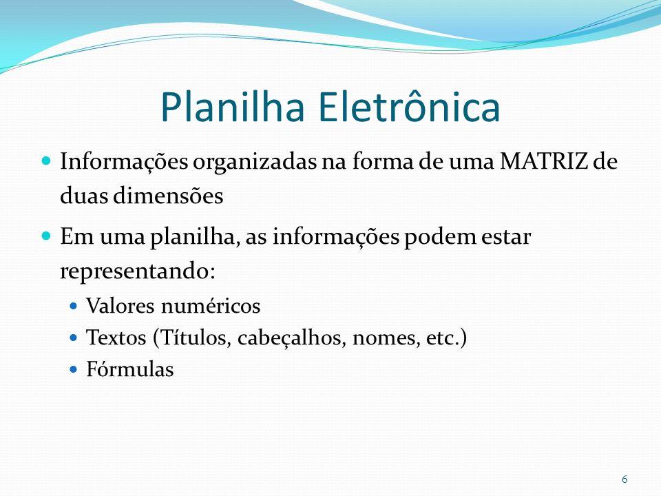 Planilha Eletrônica Informações organizadas na forma de uma MATRIZ de duas dimensões. Em uma planilha, as informações podem estar representando: