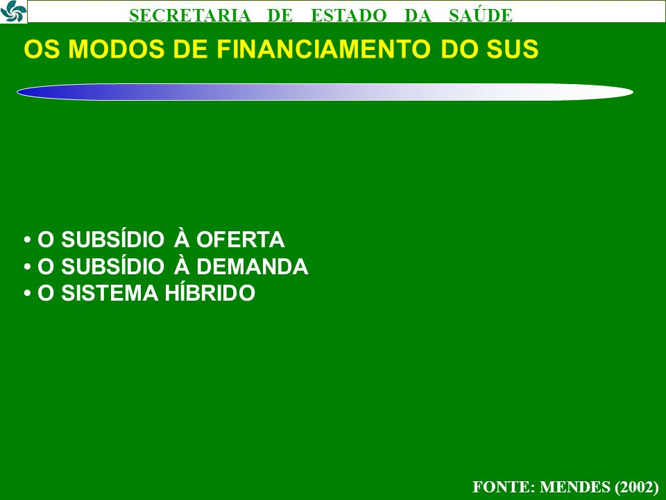 OS MODOS DE FINANCIAMENTO DO SUS
