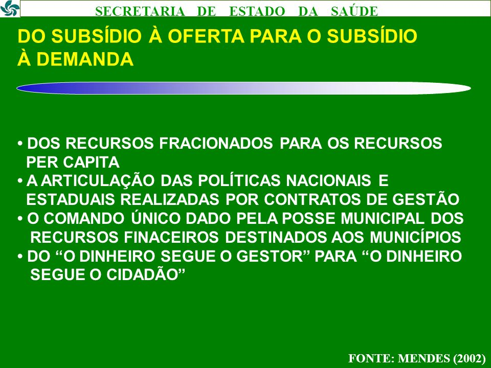 DO SUBSÍDIO À OFERTA PARA O SUBSÍDIO À DEMANDA