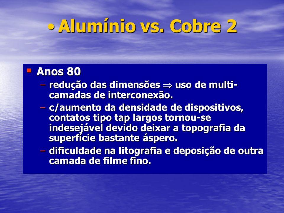 Alumínio vs. Cobre 2 Anos 80. redução das dimensões  uso de multi-camadas de interconexão.