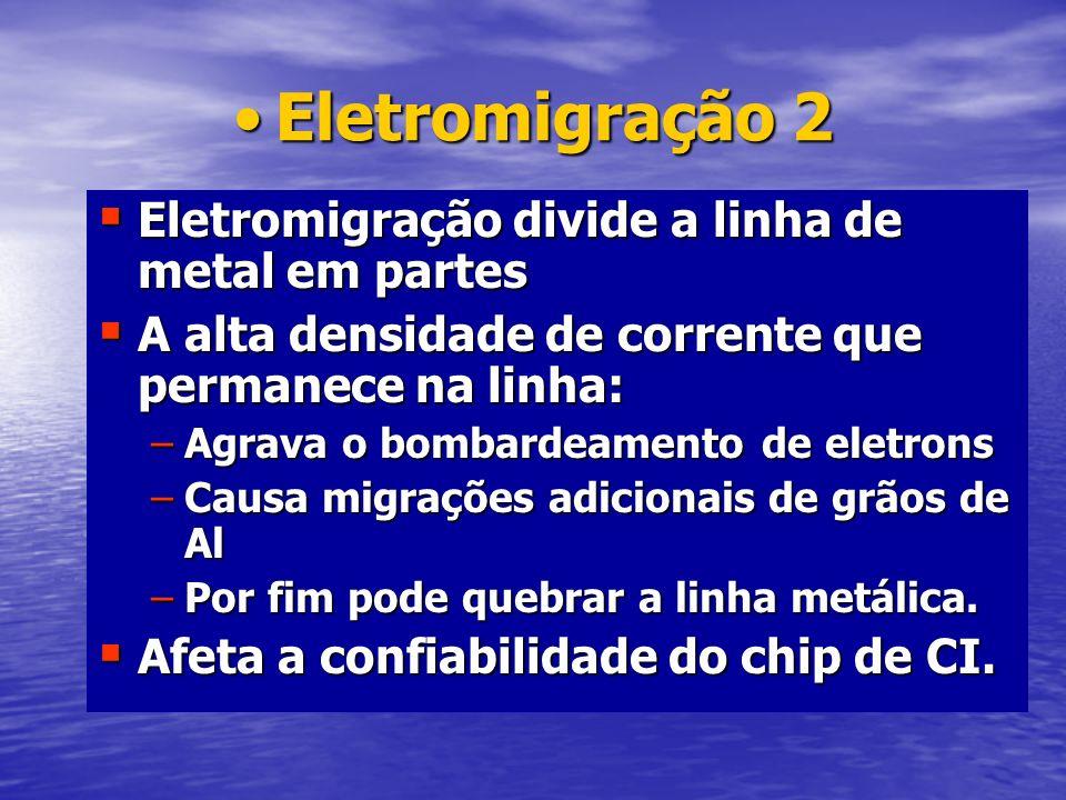 Eletromigração 2 Eletromigração divide a linha de metal em partes