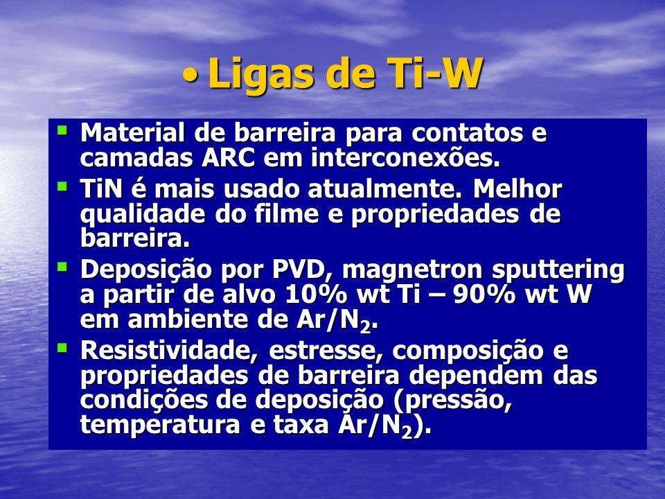 Ligas de Ti-W Material de barreira para contatos e camadas ARC em interconexões.