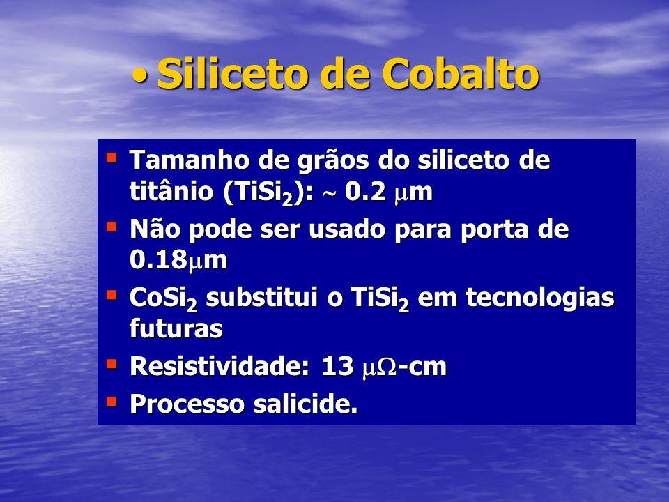 Siliceto de Cobalto Tamanho de grãos do siliceto de titânio (TiSi2):  0.2 m. Não pode ser usado para porta de 0.18m.