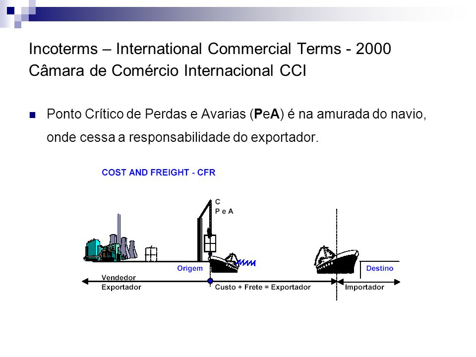 Incoterms – International Commercial Terms - 2000 Câmara de Comércio Internacional CCI