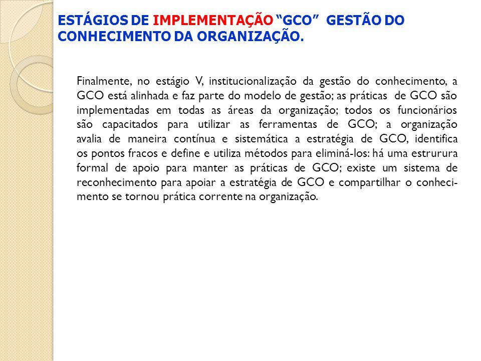ESTÁGIOS DE IMPLEMENTAÇÃO GCO GESTÃO DO CONHECIMENTO DA ORGANIZAÇÃO.