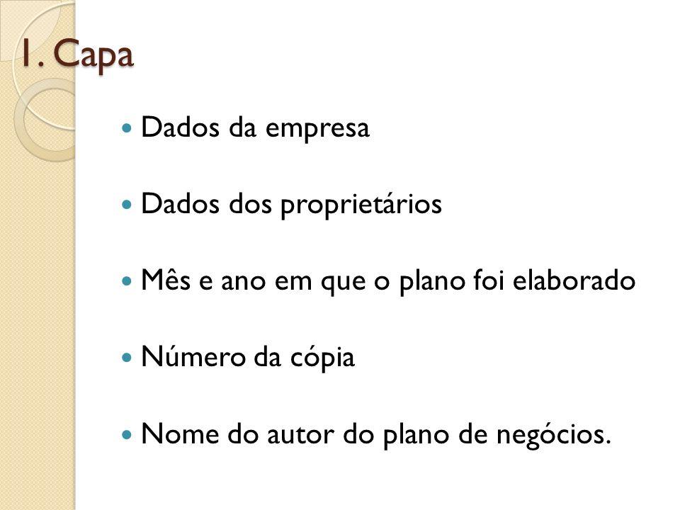 1. Capa Dados da empresa Dados dos proprietários