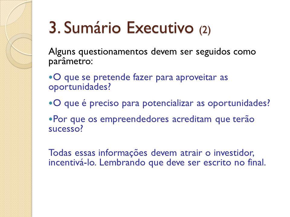 3. Sumário Executivo (2) Alguns questionamentos devem ser seguidos como parâmetro: O que se pretende fazer para aproveitar as oportunidades