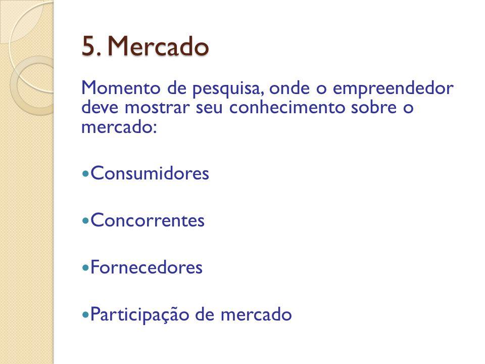 5. Mercado Momento de pesquisa, onde o empreendedor deve mostrar seu conhecimento sobre o mercado: