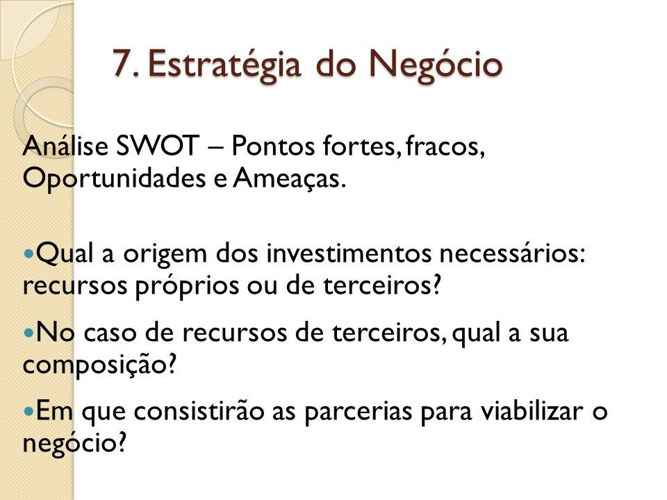 7. Estratégia do Negócio Análise SWOT – Pontos fortes, fracos, Oportunidades e Ameaças.