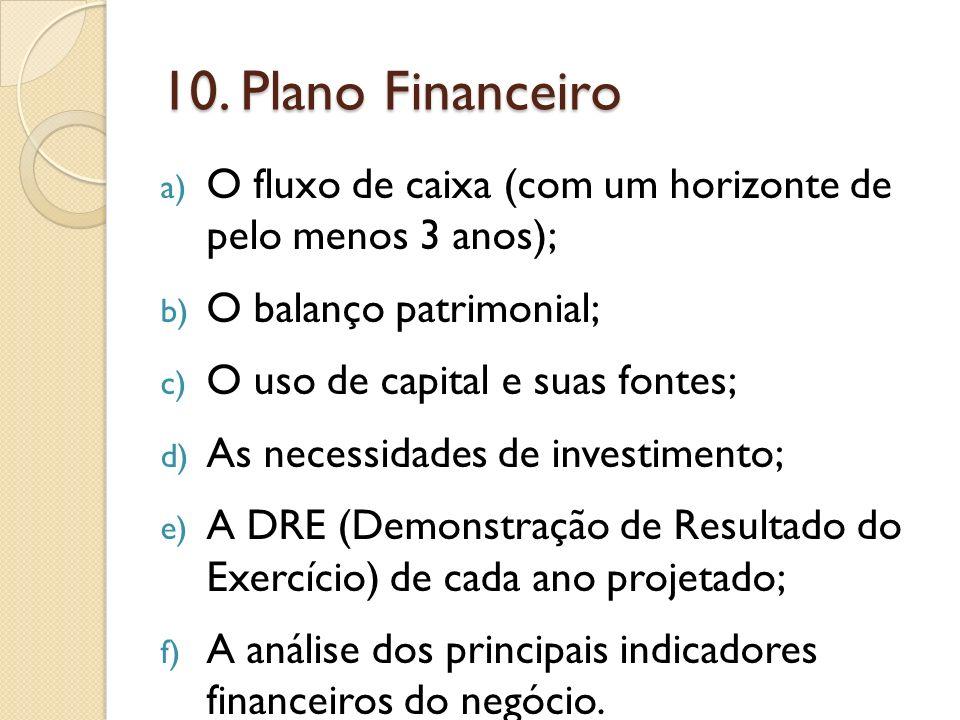 10. Plano Financeiro O fluxo de caixa (com um horizonte de pelo menos 3 anos); O balanço patrimonial;