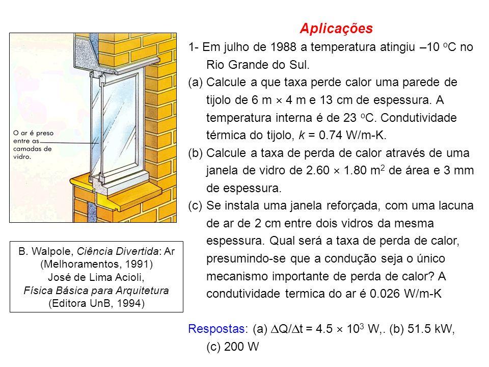 Aplicações 1- Em julho de 1988 a temperatura atingiu –10 oC no Rio Grande do Sul.