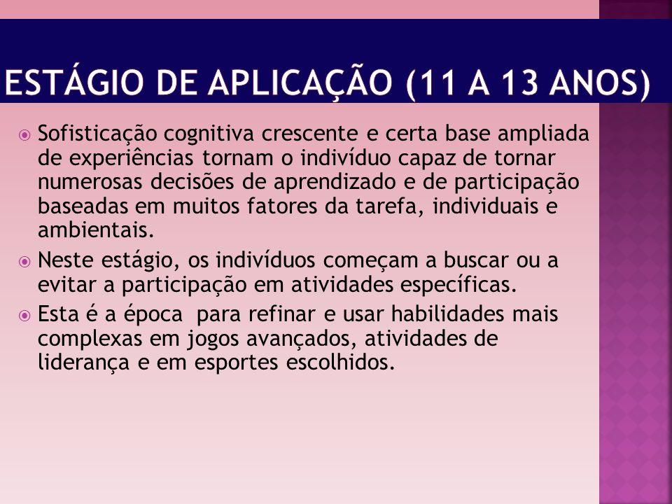 Estágio de aplicação (11 a 13 anos)