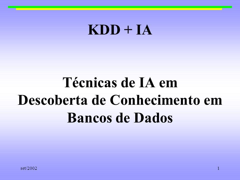 KDD + IA Técnicas de IA em Descoberta de Conhecimento em Bancos de Dados