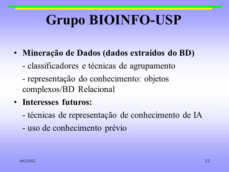 Grupo BIOINFO-USP Mineração de Dados (dados extraídos do BD)