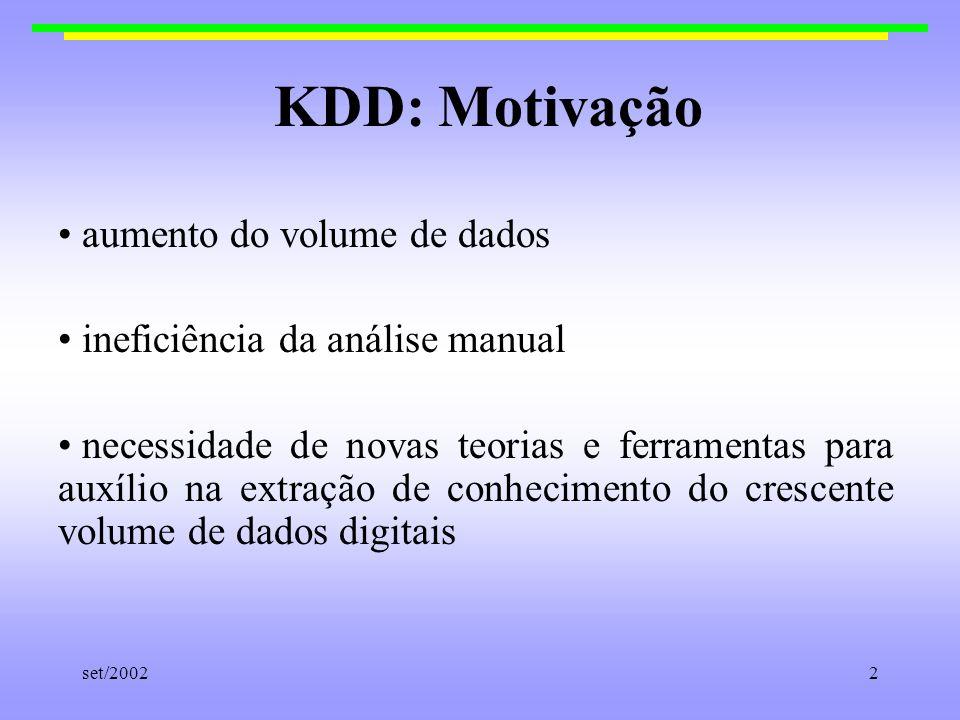 KDD: Motivação aumento do volume de dados