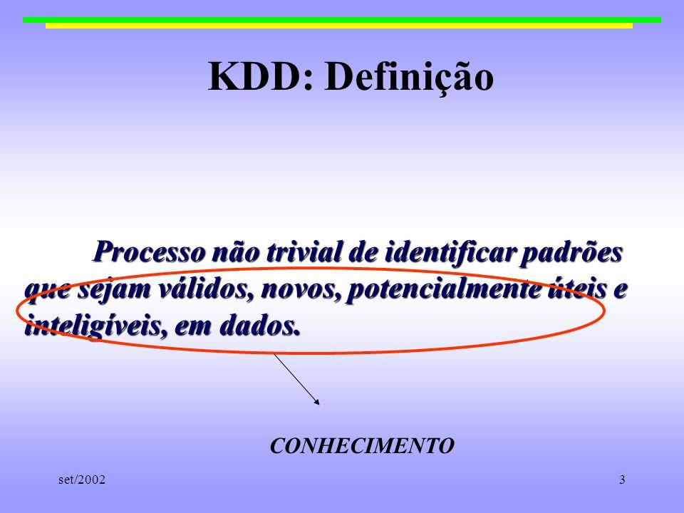 KDD: Definição Processo não trivial de identificar padrões que sejam válidos, novos, potencialmente úteis e inteligíveis, em dados.