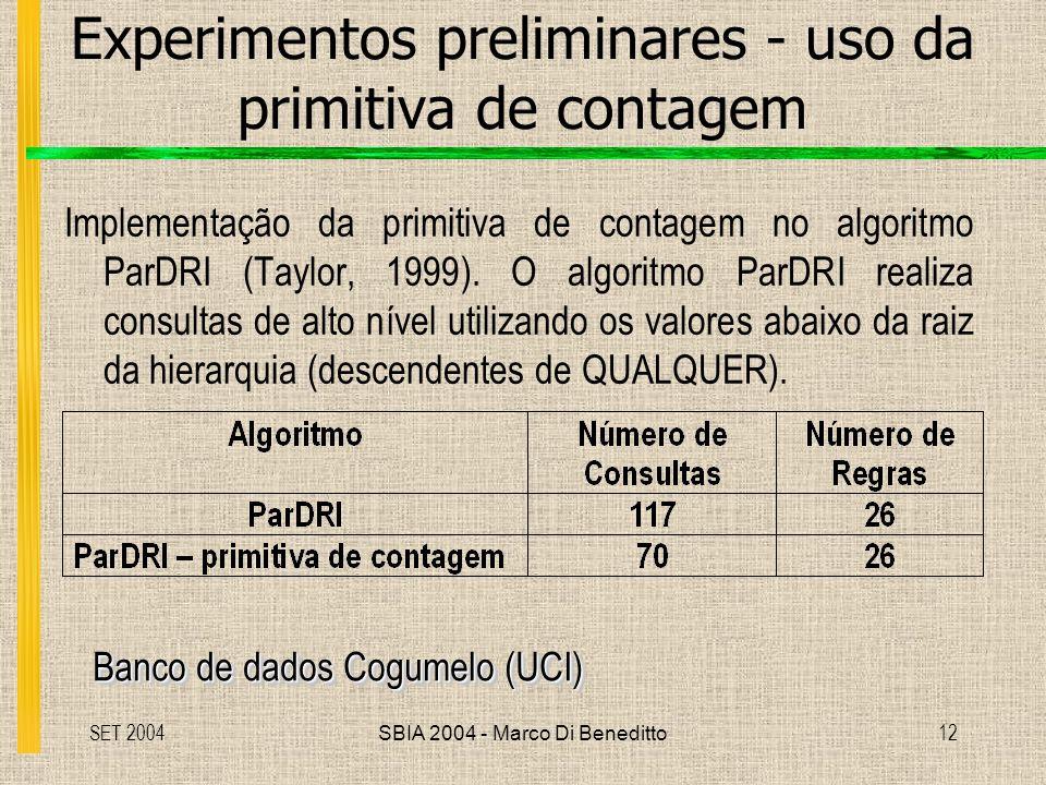 Experimentos preliminares - uso da primitiva de contagem