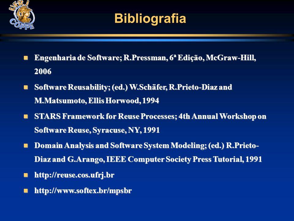 Bibliografia Engenharia de Software; R.Pressman, 6ª Edição, McGraw-Hill, 2006.
