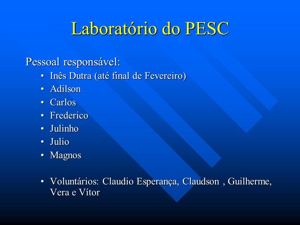 Laboratório do PESC Pessoal responsável: