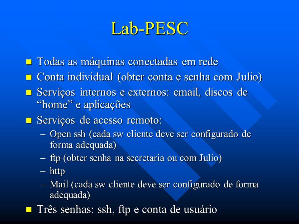 Lab-PESC Todas as máquinas conectadas em rede