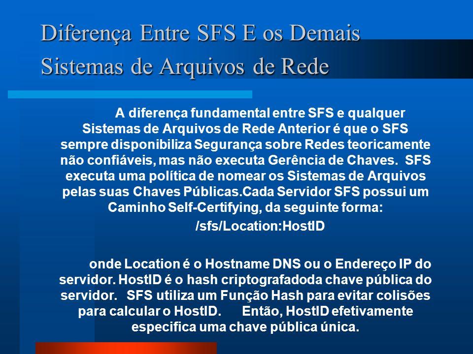 Diferença Entre SFS E os Demais Sistemas de Arquivos de Rede