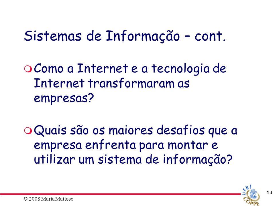 Sistemas de Informação – cont.