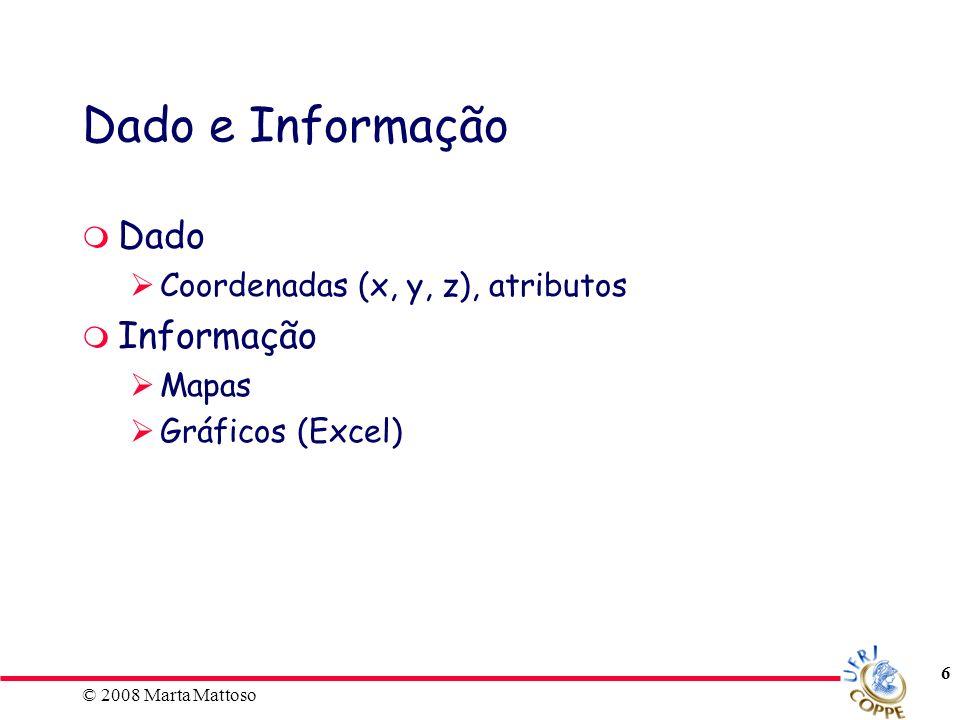 Dado e Informação Dado Informação Coordenadas (x, y, z), atributos